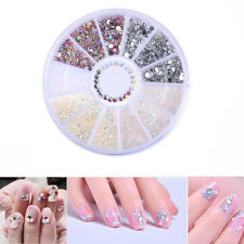 3mm New DIY Nail Art Tips Charm Gems Crystal Glitter Rhinestones 3D Decor Wheel