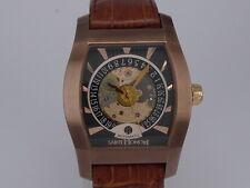 Swiss Saint Honore Monceau auto date Copper tone tonneau exhibition dress watch