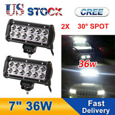 2PC 36W 7In CREE Led Work Light Bar Spot Driving Fog 4WD Truck MOTOR 27W 126W