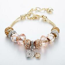 New Gold Plated Rhinestone Crystal European Charm Beads Bracelet Cuff Bangle 7''