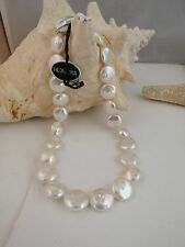 """GORGEOUS  HONORA 13-17M WHITE  COIN PEARL NECKLACE  18""""   POUCH AND BOX"""