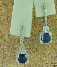 DANGLING 1.61 CT SAPPHIRE  &  DIAMOND EARRING WHITE GOLD   14K