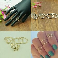 Urban Crystal Leaf Heart Shaped Knuckle Tail Rings Gold Plated 4 pcs/set RING