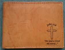Men's Christian JOHN 3:16 Cross Tan Brown Black GENUINE LEATHER Bifold ID Wallet