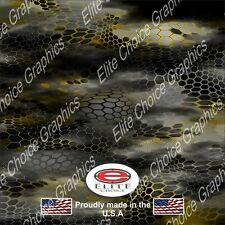"""Hex 2 Yellow CAMO DECAL 3M WRAP VINYL 52""""x15"""" TRUCK PRINT REAL CAMOUFLAGE"""