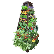 Earth Tower Vertical Garden: 4-sided Wooden Planter on Wheels