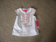 Girls 18 mo Top Lilly Pulitzer For Target White Pink Embroidered Shirt Child NEW