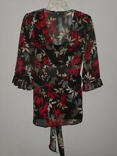 I.N. STUDIO WOMEN'S BLACK , red & WHITE 2-PIECE BLOUSE SZ XL sheer top, cami