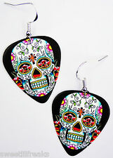 SUGAR SKULL GUITAR PICK EARRINGS! ROCKABILLY DAY OF THE DEAD CALAVERAS TATTOO
