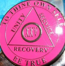 Pink Alcoholics Anonymous 25 Year AA Medallion Coin Token Chip Sobriety Sober