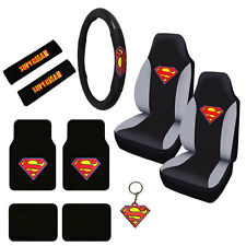 New Superman Logo Car Truck Seat Covers Steering Wheel Cover & Floor Mats Set