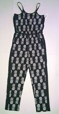 NWT Total Girl Jumpsuit Outfit Size Large 14 Black White Pineapples