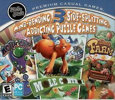 3 Addicting Puzzle Games LITTLE FARM + MOLE CONTROL + ASTROSLUGS PC Game NEW