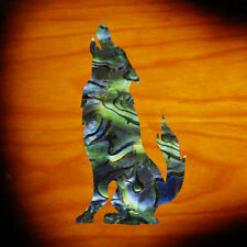Wolf (Abalone Green) Inlay Sticker Decal Headstock Guitar & Bass