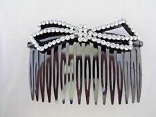 Hair comb clear crystals bow black plastic 3.25 inch fad hot sparkle straight