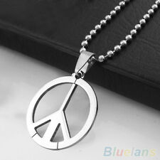 Men's Funky Stainless Steel Peace Sign Symbol Pendant Long Chain Charm Necklace