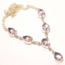"""OUTSTANDING PINK KUNZITE CHRISTMAS GIFT .925 SILVER NECKLACE JEWELRY 18"""""""