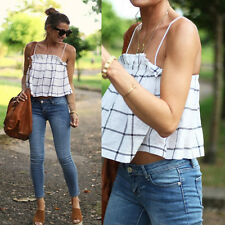 Sexy Women Spaghetti Crop Top Loose Slim Vest Blouse Tank Cami Tops T-Shirt L #2