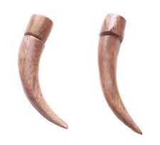 Tribal Warrior Is Fearless Brown Wooden Saber /shark Tooth Earrings(Zx188/a26)