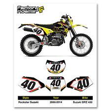 2000-2014 SUZUKI DRZ 400 Rockstar Dirt Bike Graphics Custom Number Plates