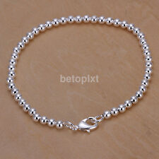 Fashion 925 Silver Plated 0.4cm Beads String Chain Bracelet Bangle Mens Jewelry