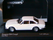 PEUGEOT 504 COUPE 1976 BLANC AROSA MINICHAMPS 400112125 1/43 WHITE WEISS BIANCA