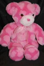 "Pink Heart Valentine Teddy Bear Fuzzy Bow Commomwealth Plush 17"" Toy 2002 Lovey"