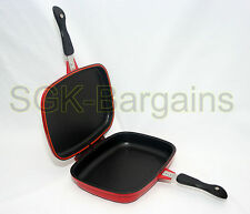 32CM DIE CAST NON STICK DOUBLE SIDED GRILL FRYING MAGIC PAN SILICON SEAL BLACK