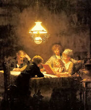Oil painting knut ekvall - the reading lesson children in happy family on canvas