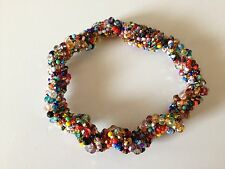 Czech Glass Beaded Bright MULTI COLOR Twisted Bangle Bracelet Cuff Boho Hippie