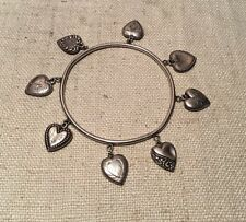 Antique 1940s Sterling Silver Puffy Heart 8 Charm Bangle Bracelet