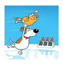 'Ice Capades' Cartoon Cat and Dog Ice Skating 10 pack small square Xmas cards