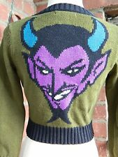 RARE Betsey Johnson Devil Face Intarsia Cotton 3/4 Sleeve Cardigan Sweater S