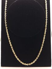 "New 14K Solid Yellow Gold 30"" Rope Chain Diamond Cut Link Chain Necklace 49g,5mm"