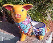 Talavera Pottery planter Flower Pot PIG 12.75 X 10.5 X 7.5 marigold + Aqua Blue