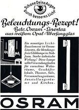 OSRAM Linestra aus weissem Opal-Überfangglas  Historische Reklame von 1937