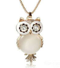 Fashion Lovely Crystal Rhinestone Gemstone Opal Owl Necklace Chain