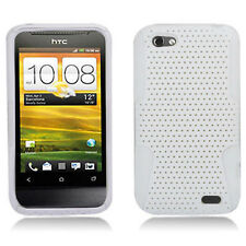 For HTC One V MESH Hybrid Silicone Rubber Skin Case Phone Cover White White