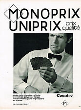 PUBLICITE ADVERTISING 045  1969   MONOPRIX  chemise homme COUNTRY