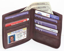 Brown Leather Men's ID Card Zip Around Safe Bifold Tall Hipster 10 Cards Wallet
