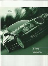 JAGUAR S-TYPE 3.0 V6/V6 SPORT,3.0 V6 SE,4.0 V8/V8 SPORT PRICE BROCHURE DEC. 2000
