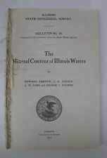 Geology Survey Water Analysis Mineral Content Illinois Waters Springs Illus 1909