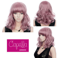 Lilac Pink Pastel Shoulder Length Bouncy Wavy Layered Wig Hair With Fringe
