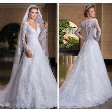 UK White/ivory Lace Long Sleeve Wedding Dress Bridal Gown Size 6-20 /Custom Made