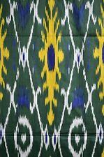 Ikat de tela a mano METERWARE algodón verde/amarillo color Uzbekistán