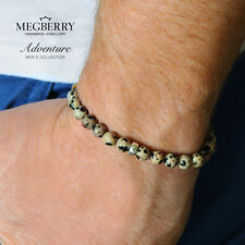 MEGBERRY Mens 925 Sterling Silver & Dalmatian Jasper Beaded Bracelet Made in UK