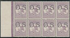 Kangaroo stamps 9d violet 1st watermark perforated small OS block 8 variety