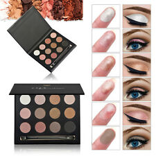 12 Colors Matte Shimmer Eyeshadow Eye Shadow Palette Makeup Cosmetic Set Brush