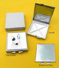 Bull Terrier Dog Polished Metal Square Pill Box with 4 sections Gift
