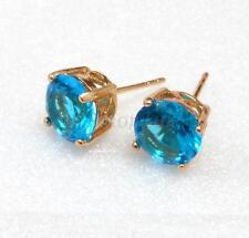 fashion1uk 18K Gold Plated Aqua Simulated Diamond Men Women Stud Earrings 8mm